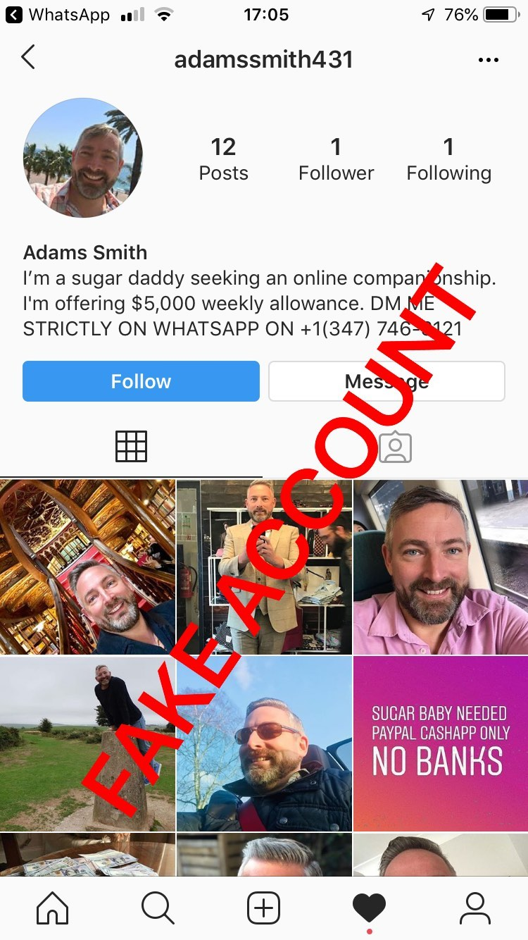Adam Smith fake account on Instagram - 14