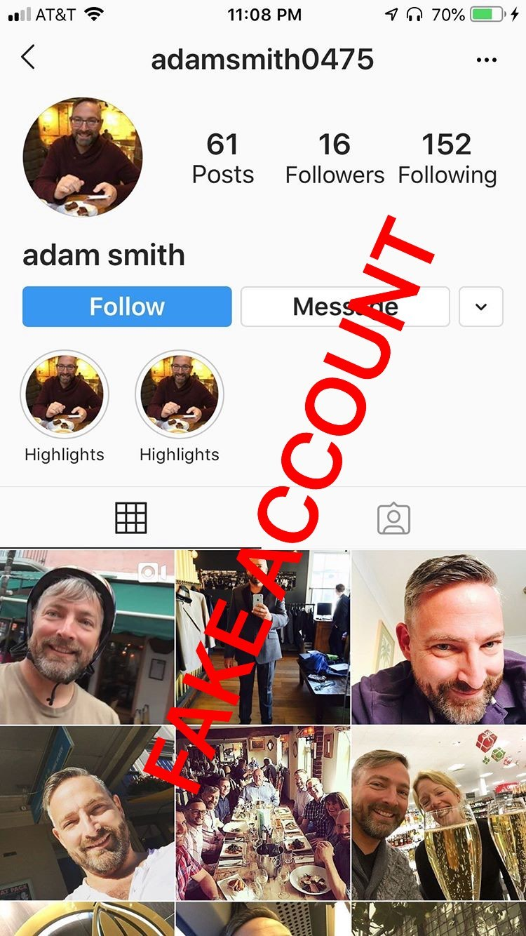 Adam Smith fake account on Instagram - 21