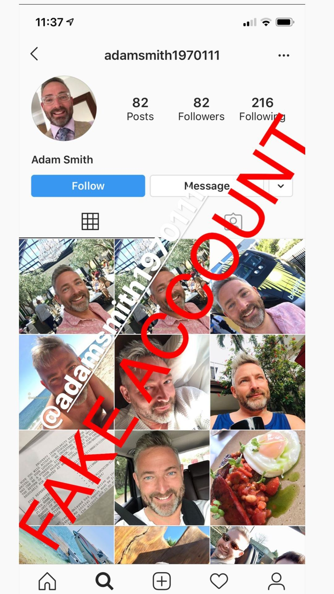 Adam Smith fake account on Instagram - 38