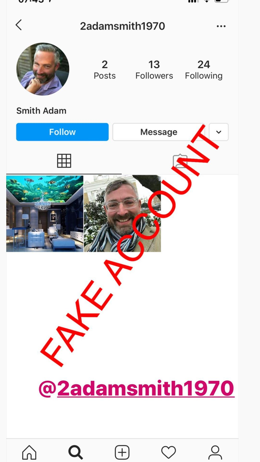Adam Smith fake account on Instagram - 40