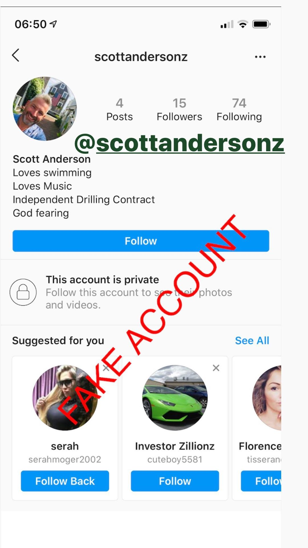 Adam Smith fake account on Instagram - 46