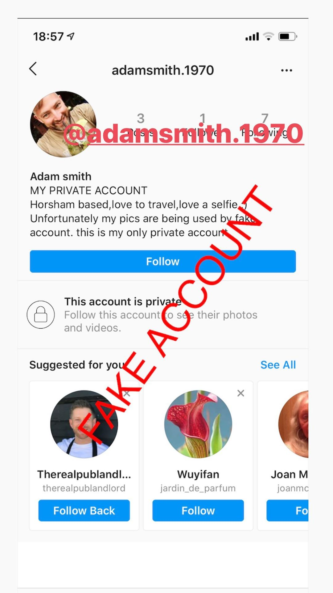 Adam Smith fake account on Instagram - 51
