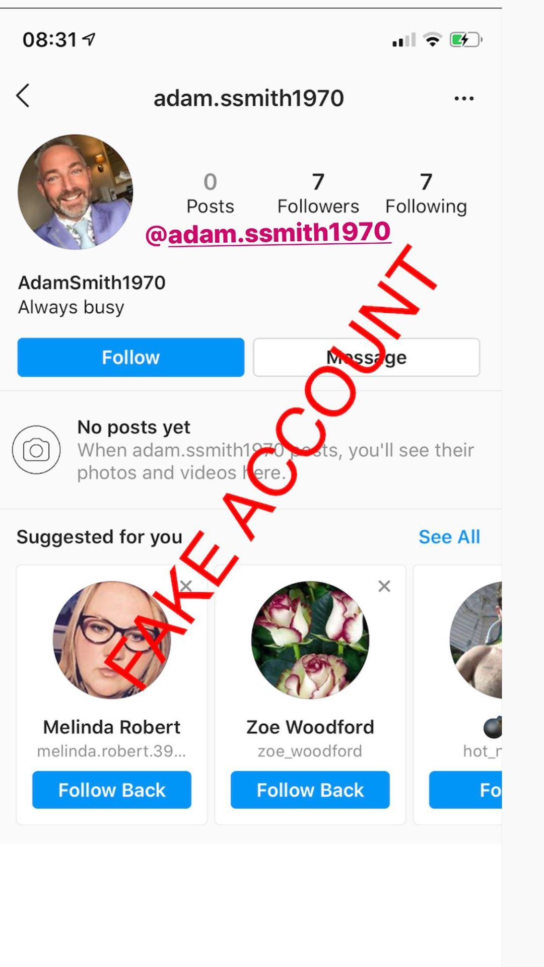 Adam Smith fake account on Instagram - 59