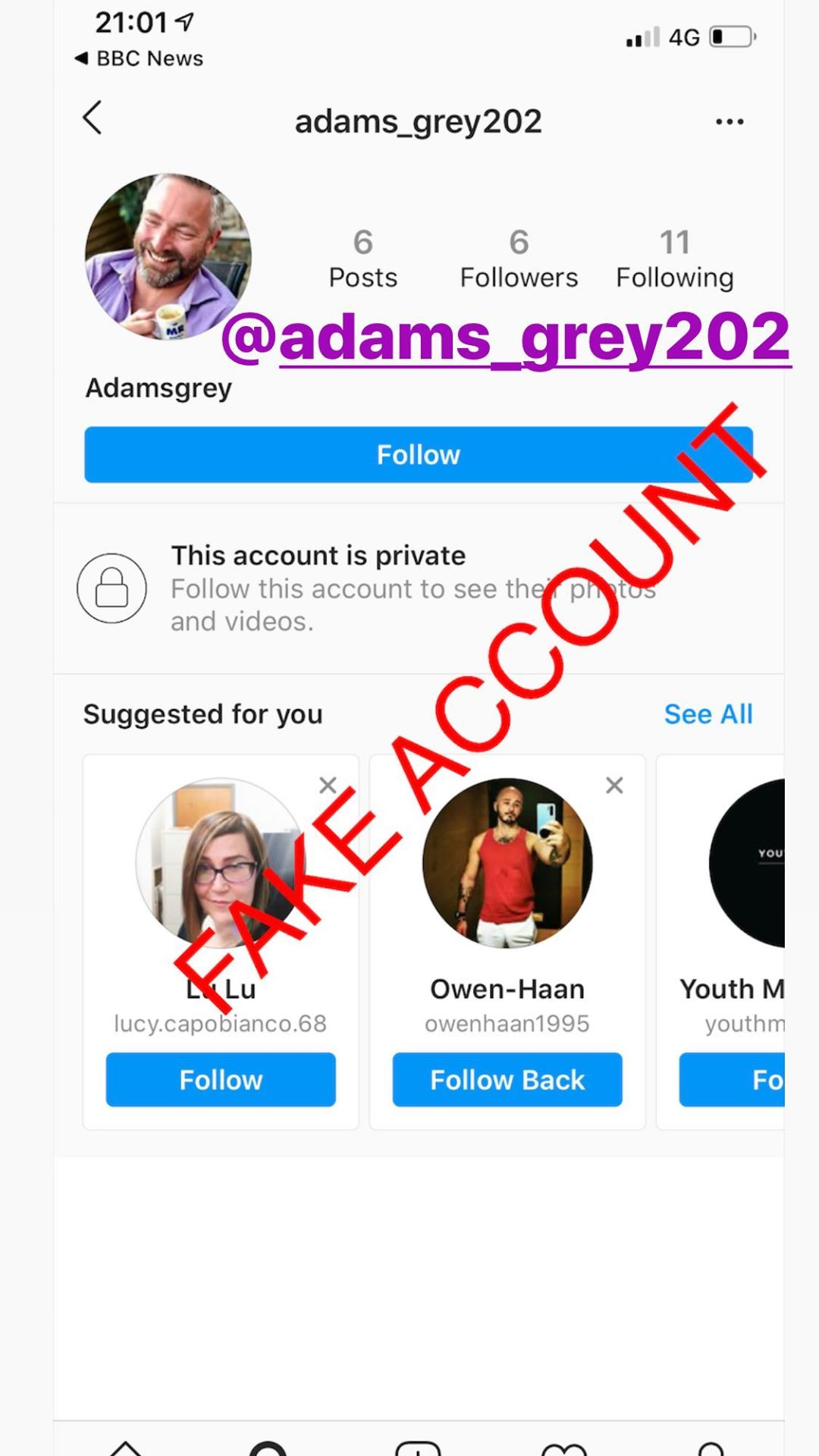 Adam Smith fake account on Instagram - 63