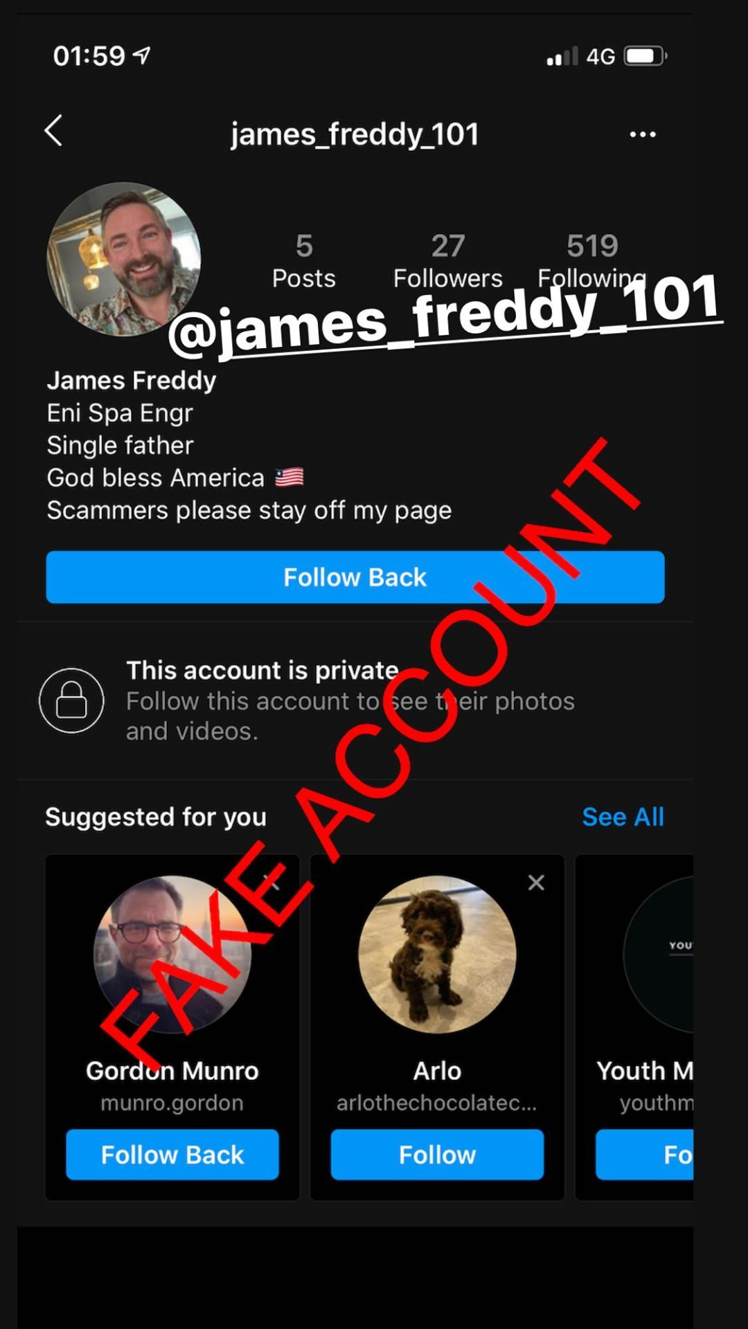 Adam Smith fake account on Instagram - 66