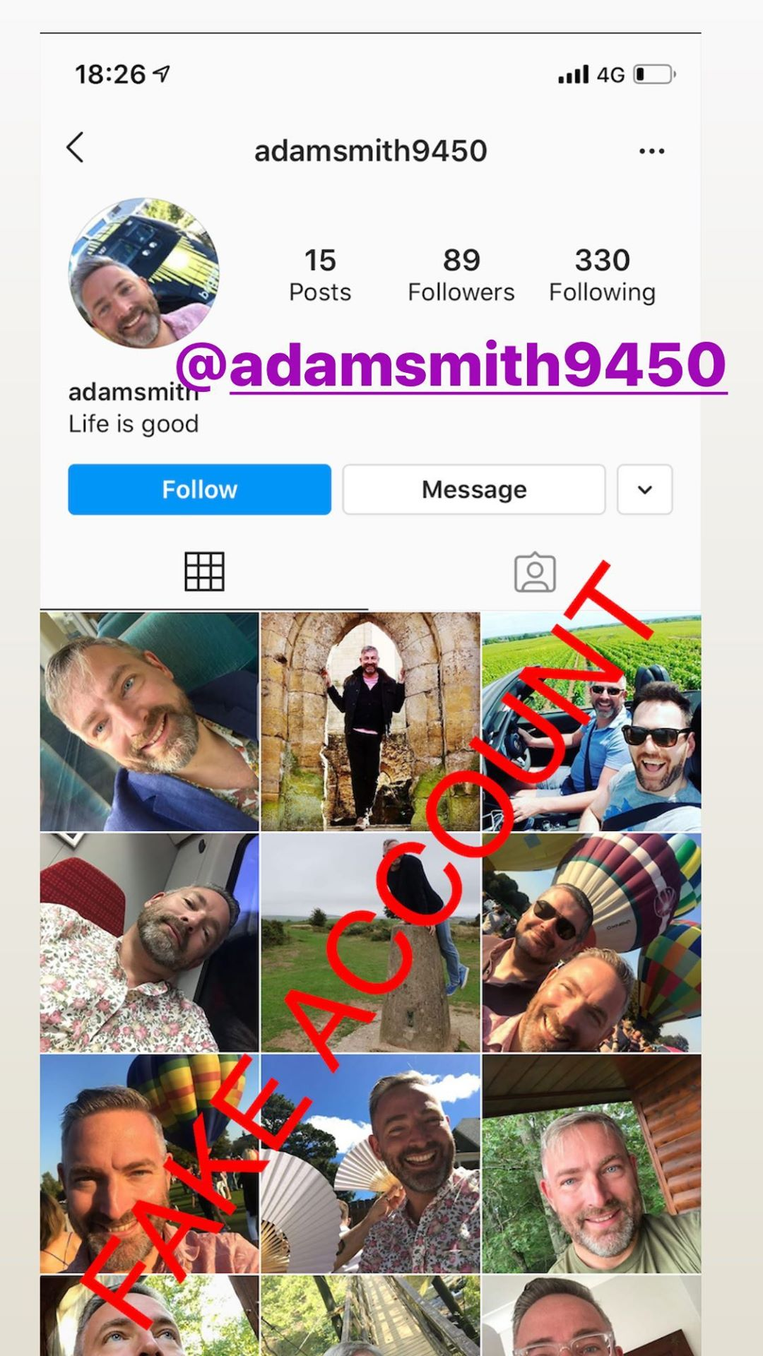 Adam Smith fake account on Instagram - 75