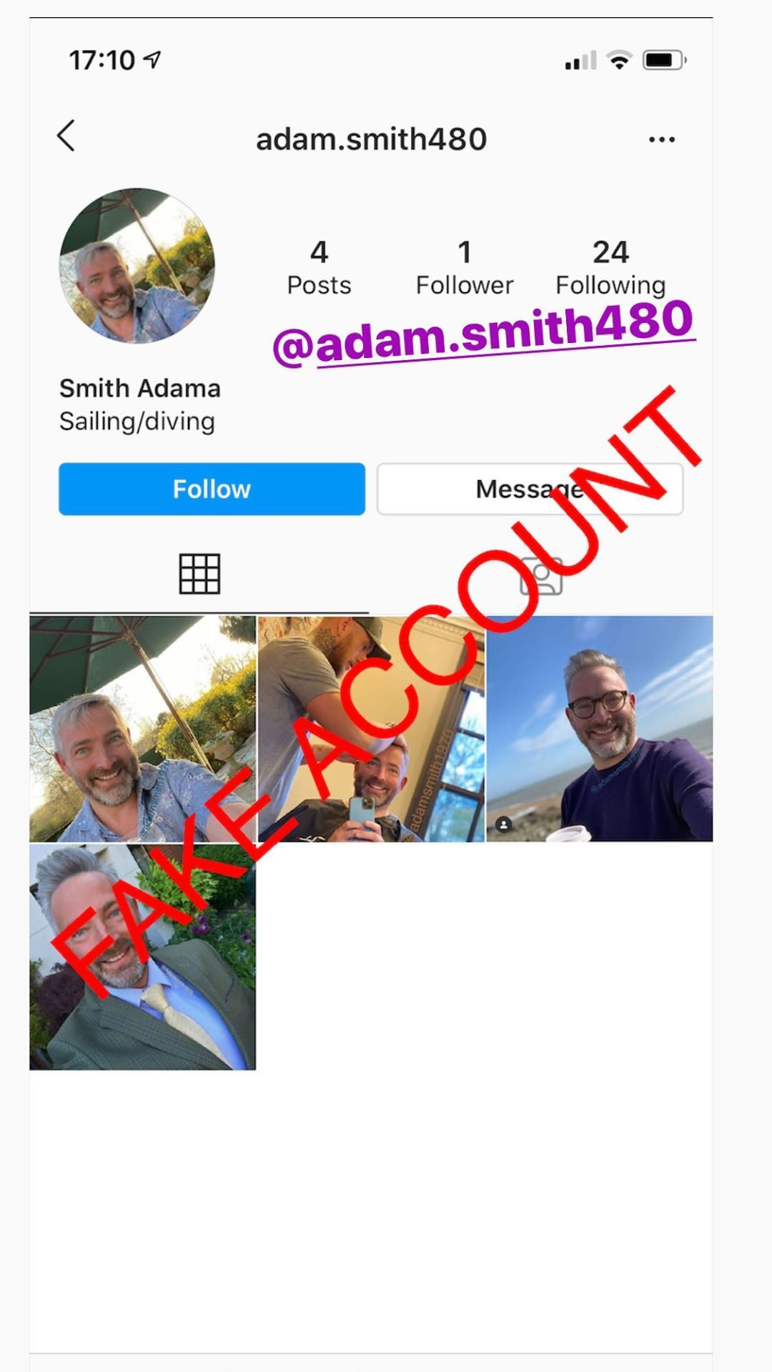 Adam Smith fake account on Instagram - 79
